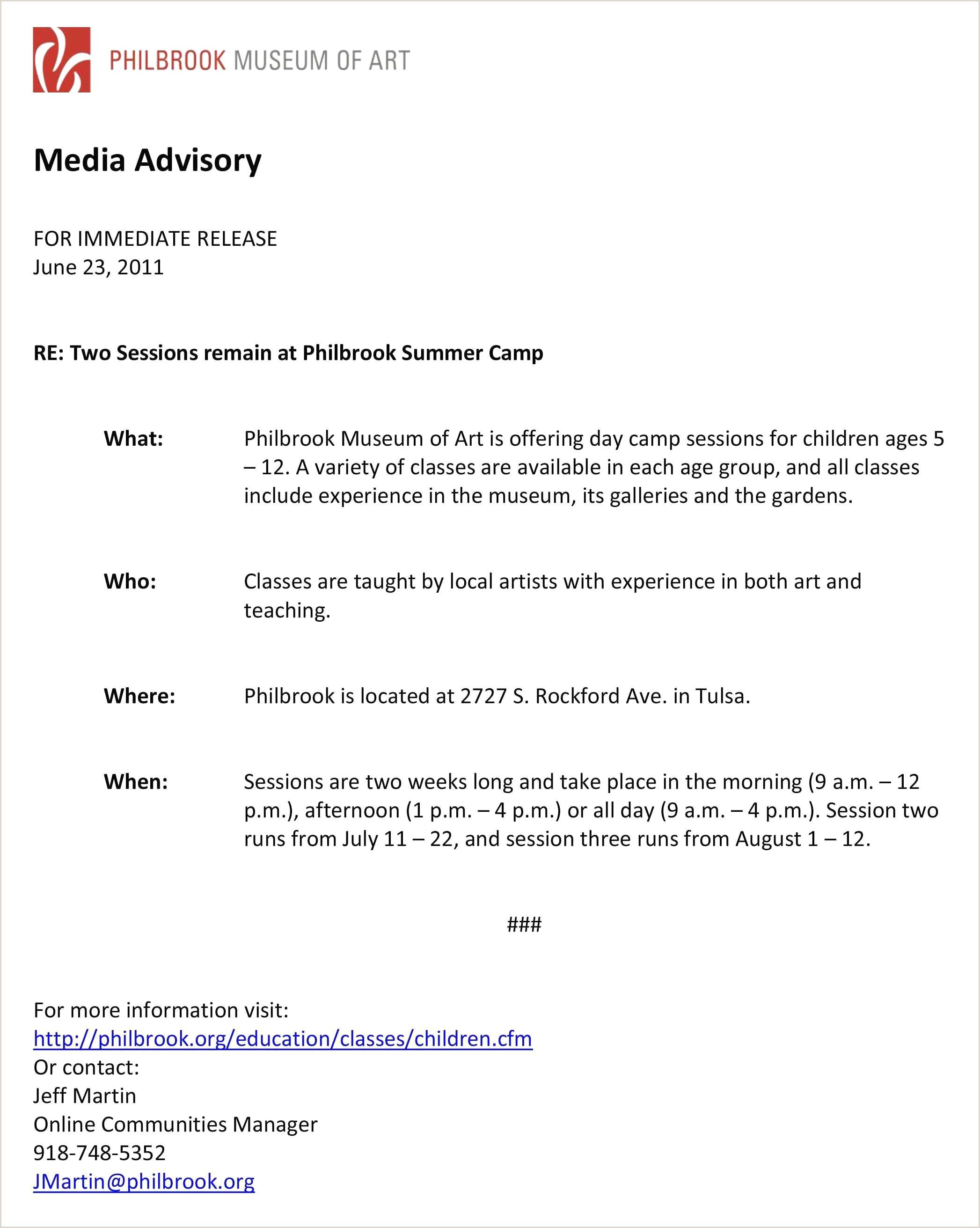 Le Cv échantillon Media Advisory Template New Media Alert