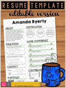 Professional Cv format for English Teacher Free Editable Resume Template Tpt Free Lessons
