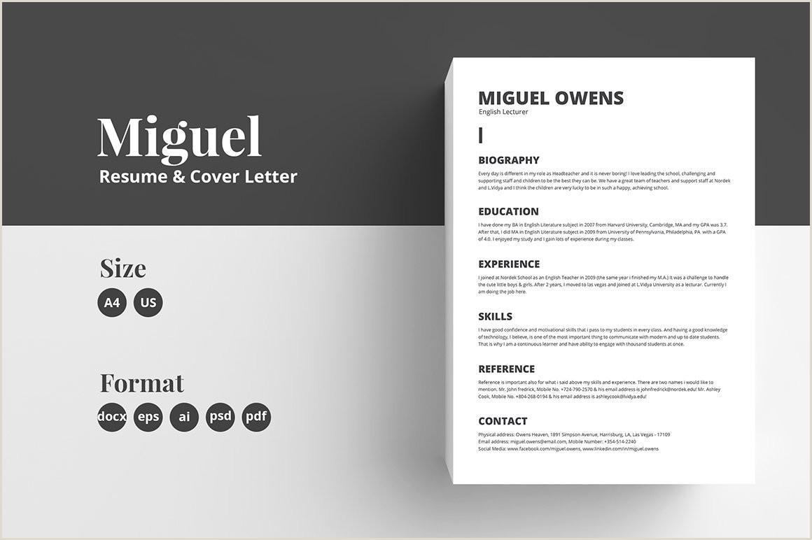 Resume CV Template Miguel Resume Templates Creative Market