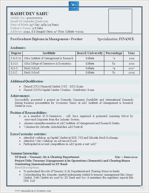 Professional Cv Format For Freshers Best Resume Format For Banking Sector For Freshers