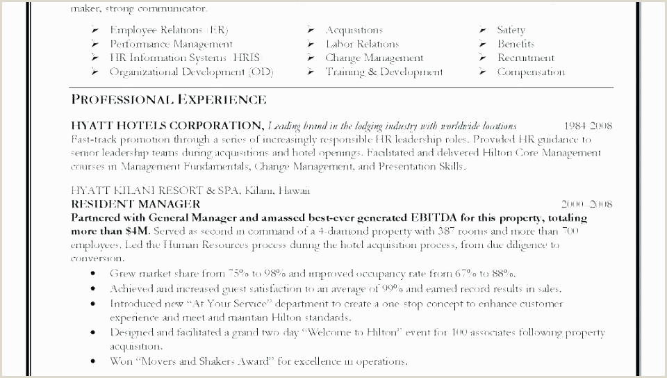 Professional Cv format for Hotel Industry 79 Exemple Cv Open Fice