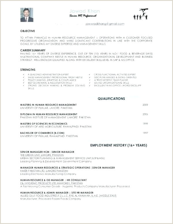 Professional Cv format for Hr Manager Entry Level Cv Template