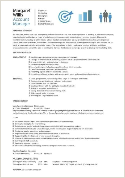 Professional Cv format for Marketing Manager Account Manager Cv Template Sample Job Description Resume