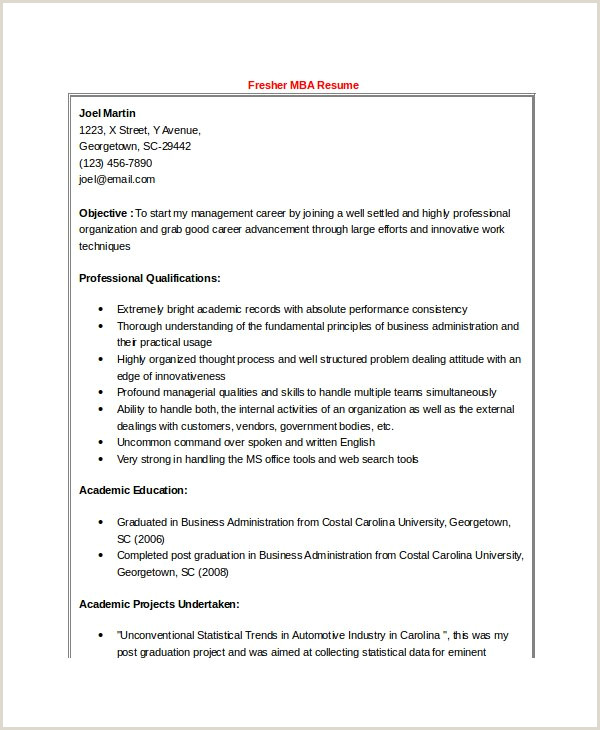Professional Cv format for Mba Freshers 47 Best Resume formats Pdf Doc