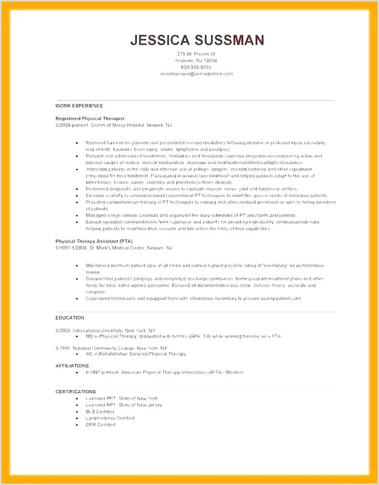 Professional Cv format for Physiotherapist Physical therapy Plan Care Template Clinical Treatment