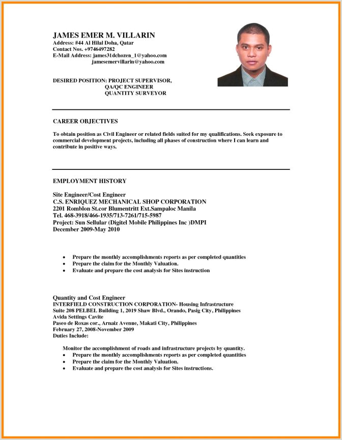 Professional Cv format for Quantity Surveyor Sample Career Objective In Resume for Freshers New