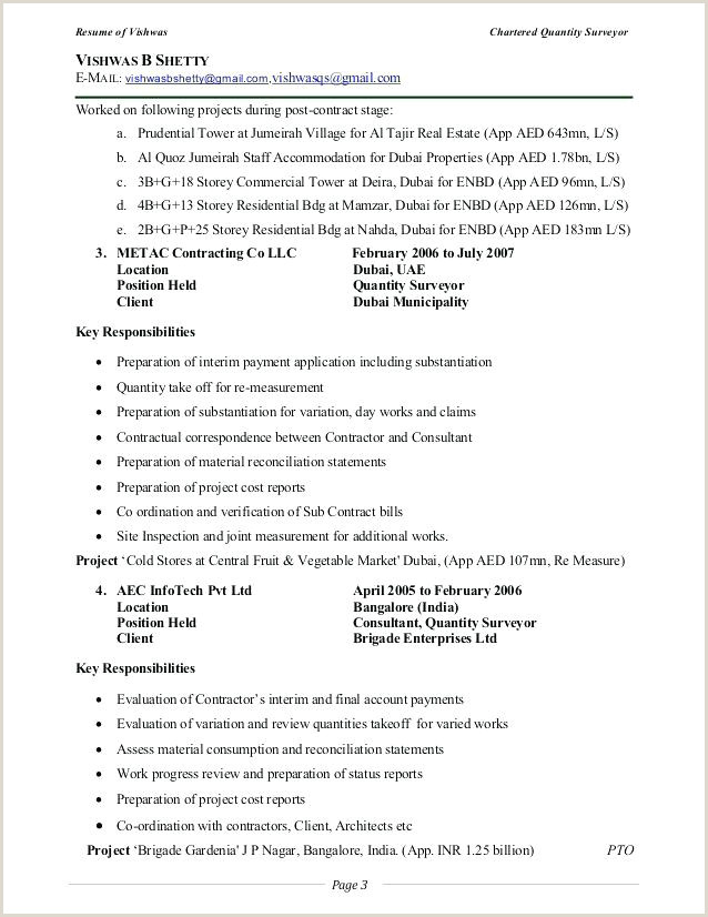 Professional Cv format for Quantity Surveyor Variation Report Template Fresh Free Construction Project