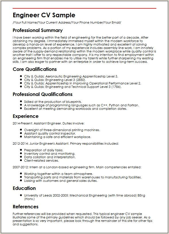 Engineer CV Sample Curriculum Vitae Builder