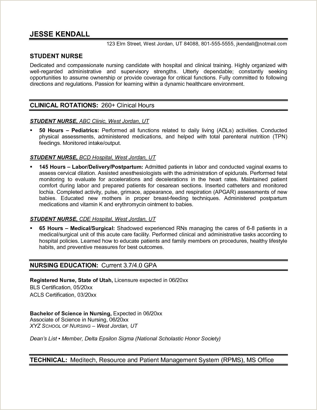 Professional Cv format for Undergraduate Students Entry Level Nurse Practitioner Resume Inspirational New Grad