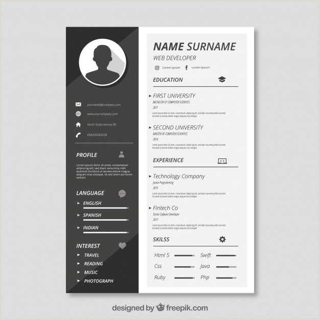 Black and white cv template Vector