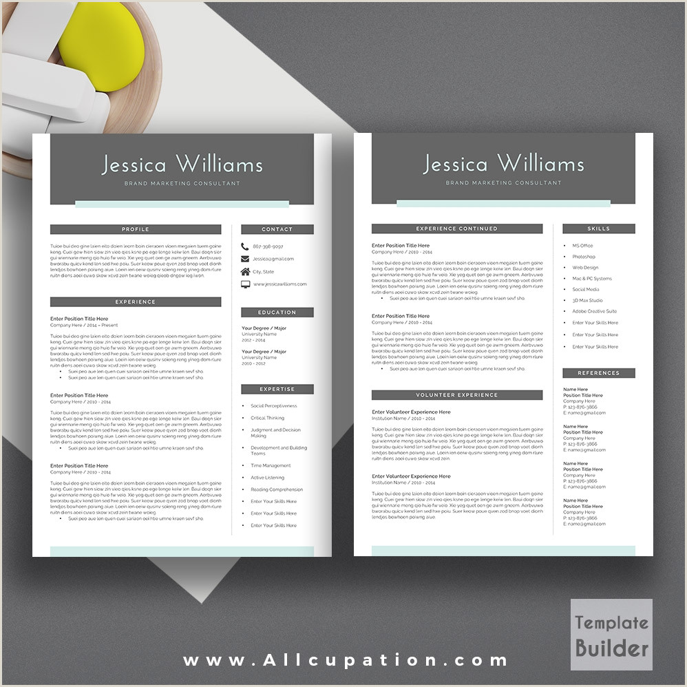 Page Resume Template Word Free Download Two Microsoft 2