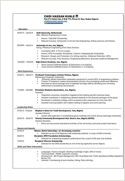 Professional Cv format In Nigeria Image Result for Sample Of Curriculum Vitae In Nigeria