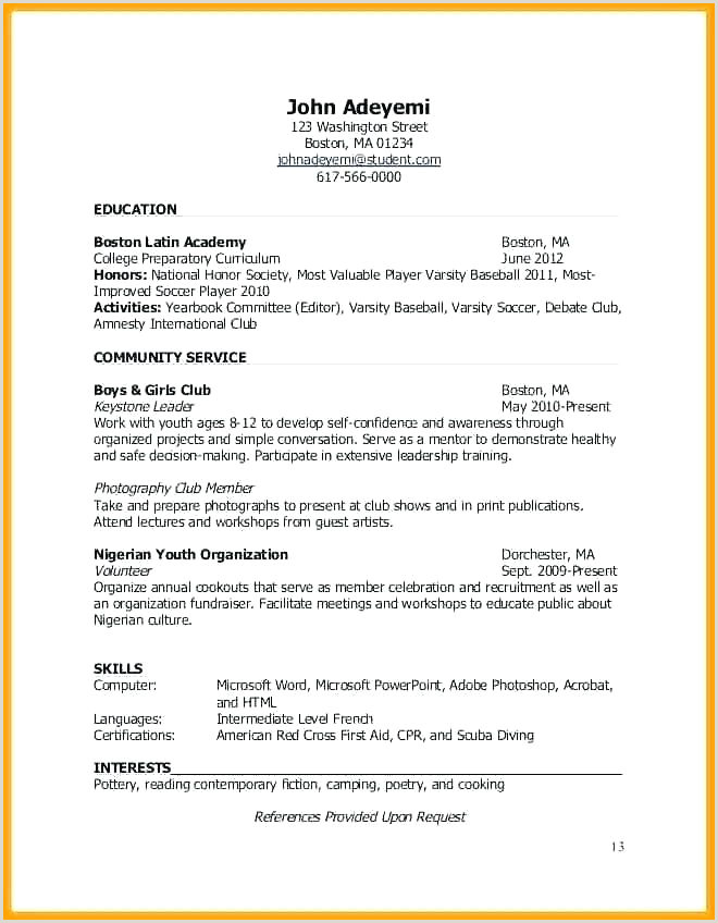 Professional Cv format In Nigeria soccer Player Cv Template