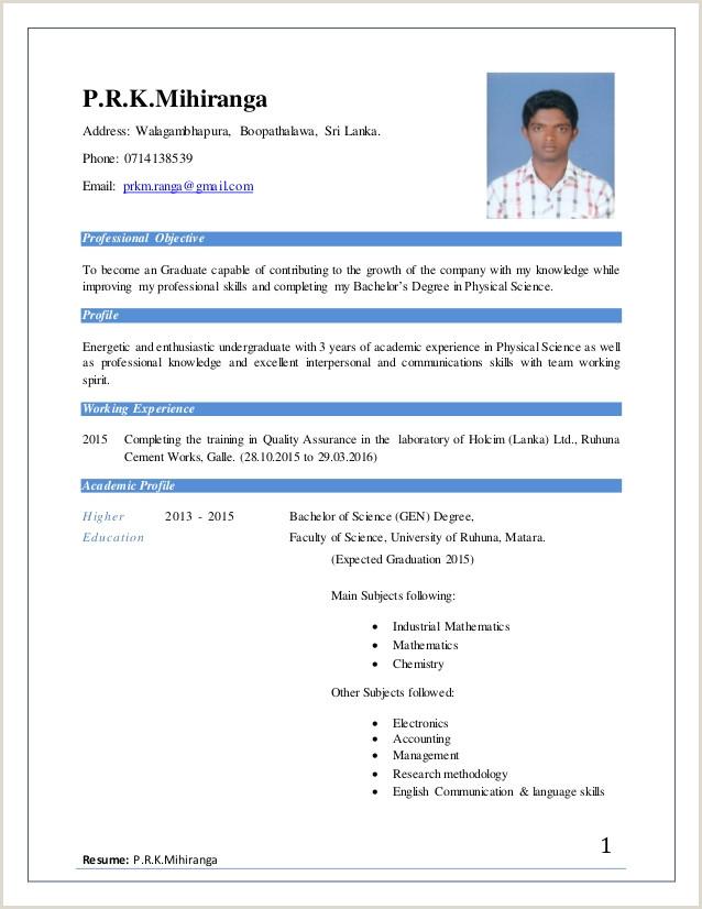 Be ing Phill Job cv format in sri lanka