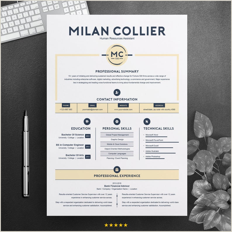 Creative Resume Design Template MS Word CV Template Professional & Modern Curriculum Vitae Apple Pages