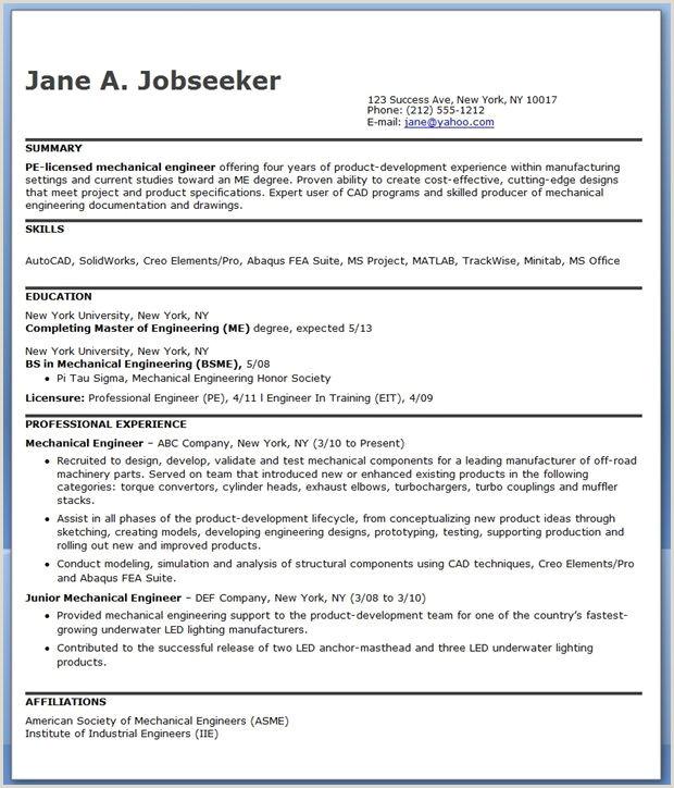 Mechanical Engineering Resume Sample PDF Experienced