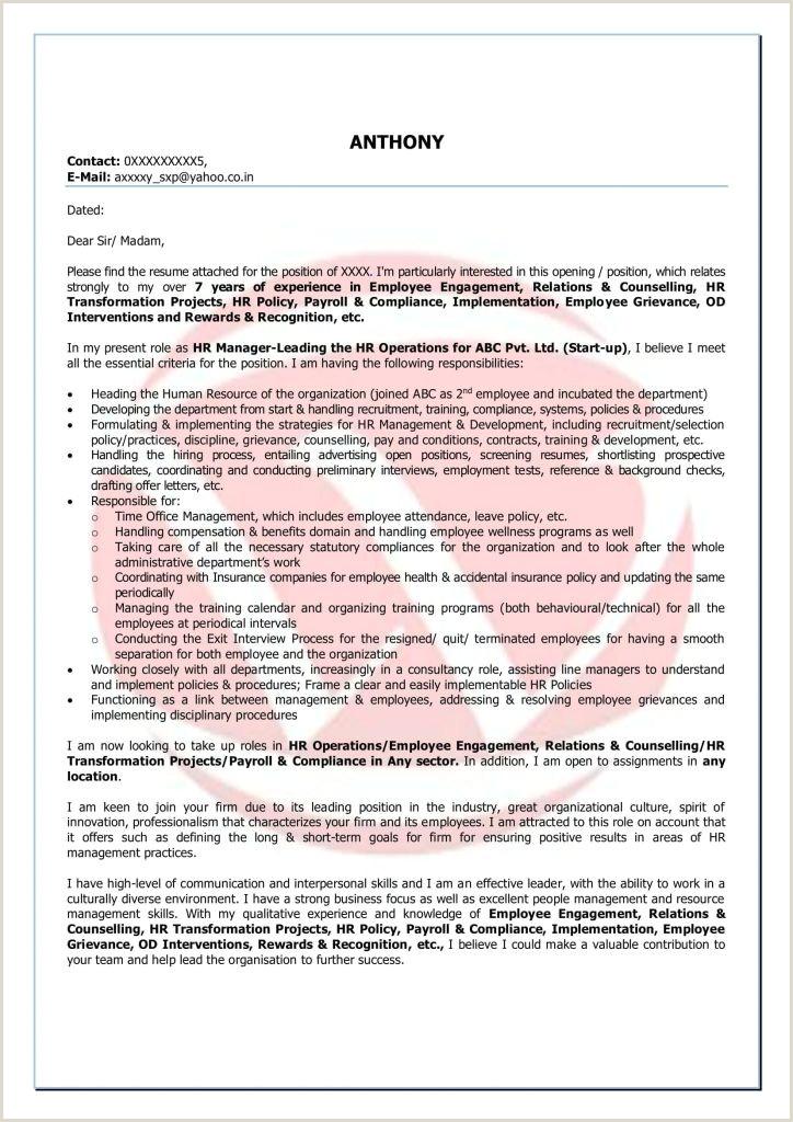 Cv Cover Letter Nz Fresh Hr Sample Cover Letter format