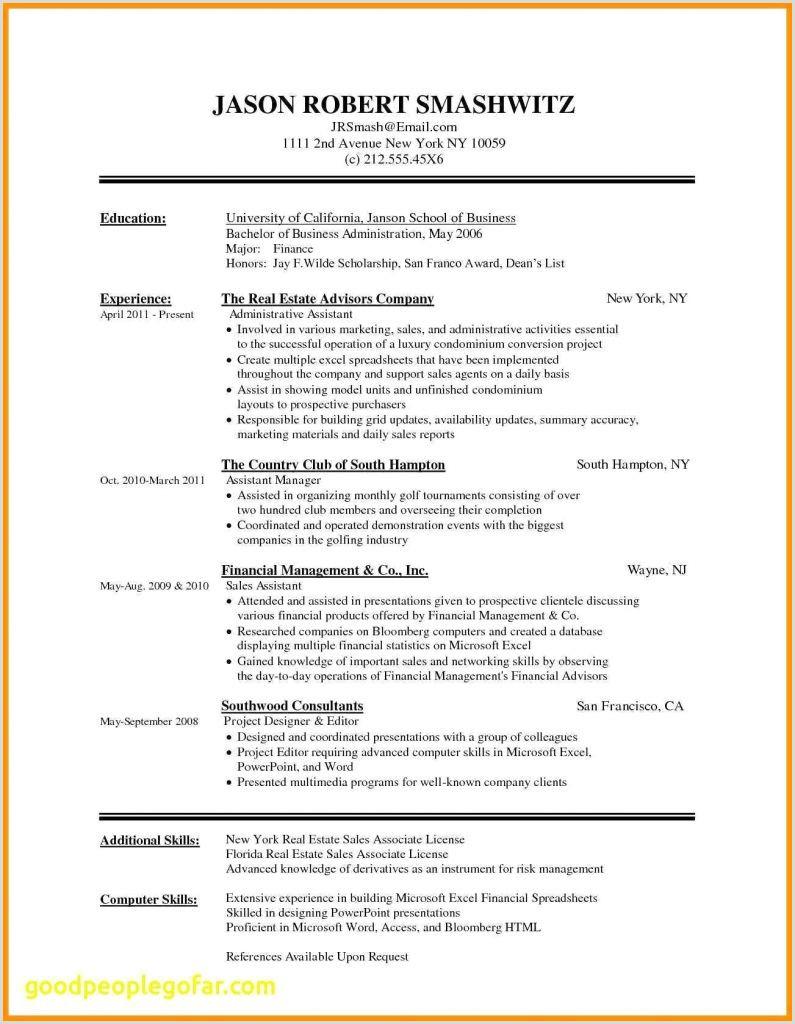 Resume Sample Format Doc New Resume Template Doc New Resume