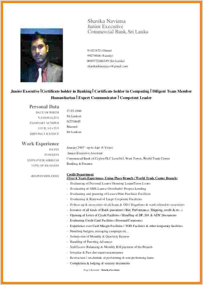 Professional Cv format Sri Lanka 9 Cv Sample Pdf 2015