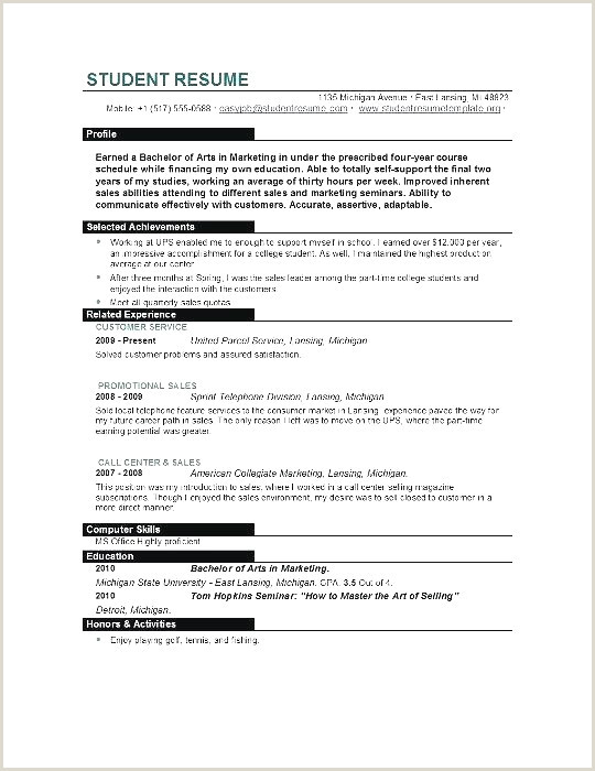 Curriculum Vitae Examples for College Students