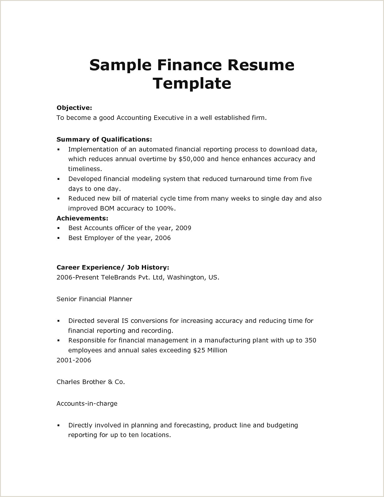 Finance Professional Resume Best Us Resume format