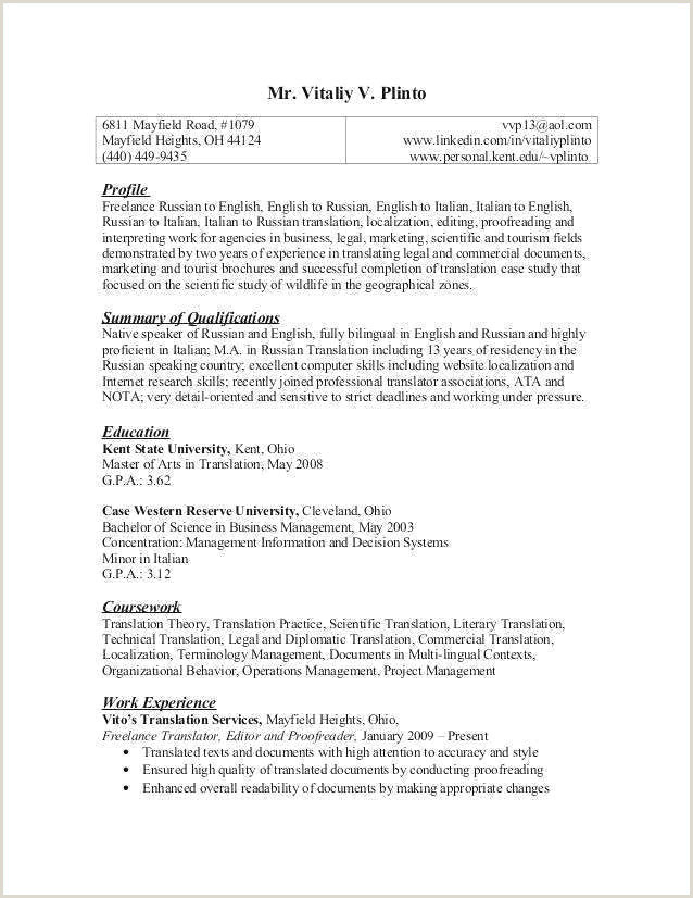Professional Cv Profile Examples English Cv Template Nouveau English Cv Example Fresh