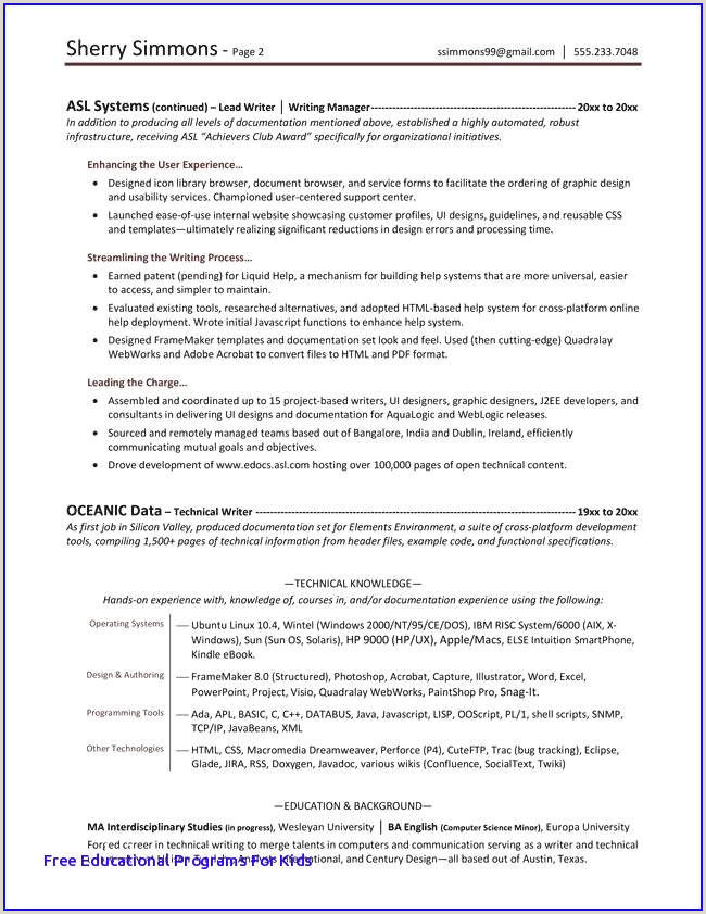 Nanny Resume Template Examples Resume Template for Kids