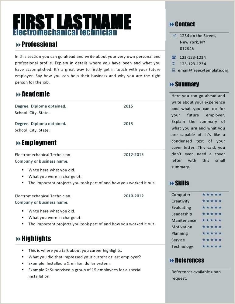 Professional Resume Templates Creative Editable Word Format