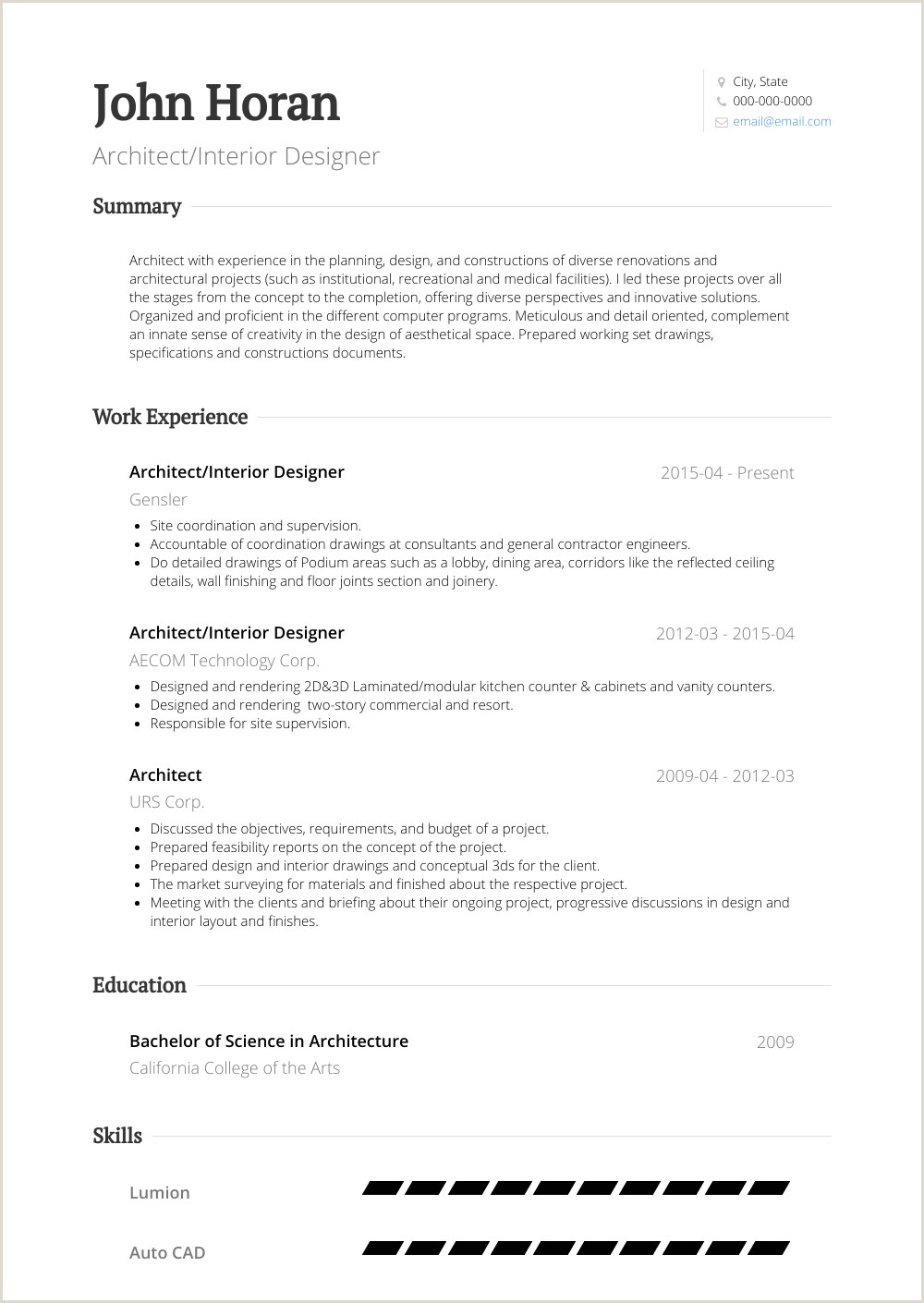 Interior Designer Resume Samples Templates Visualcv Sample