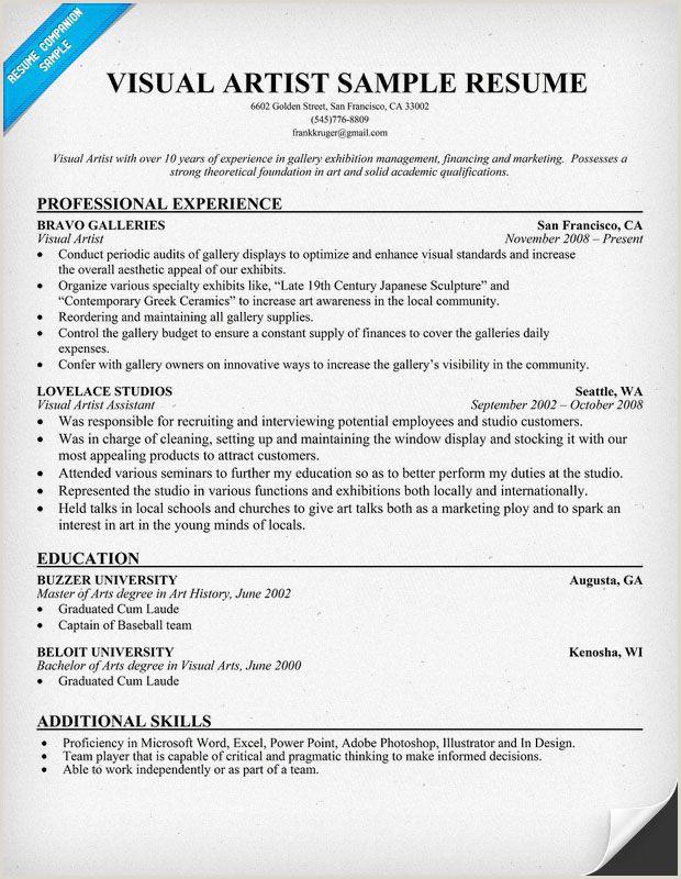 Visual Artist Resume resume panion