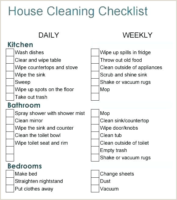 Professional House Cleaning Checklist Printable House Cleaning Checklist – Designtruck