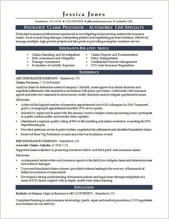 Insurance Claims Processor Resume Sample