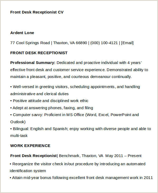 Professional Receptionist Cv Example Uk 33 Curriculum Vitae Samples Pdf Doc