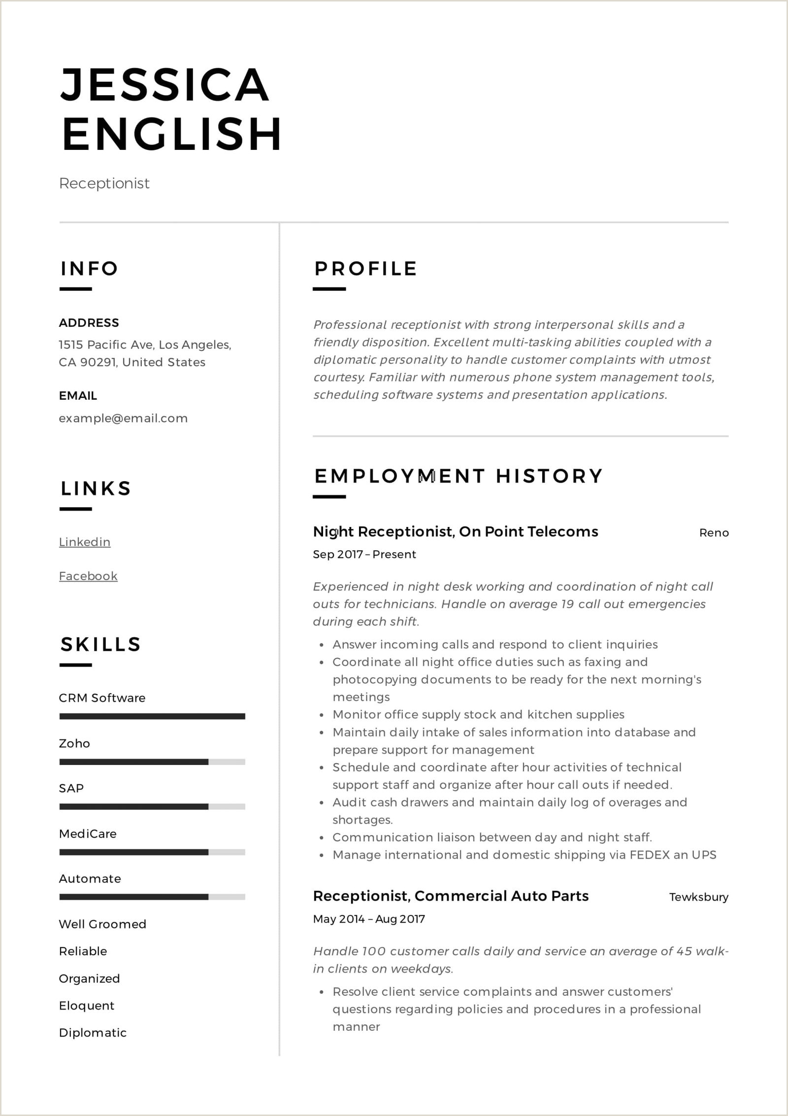 Medical Receptionist Resume Examples Flagshipmontauk