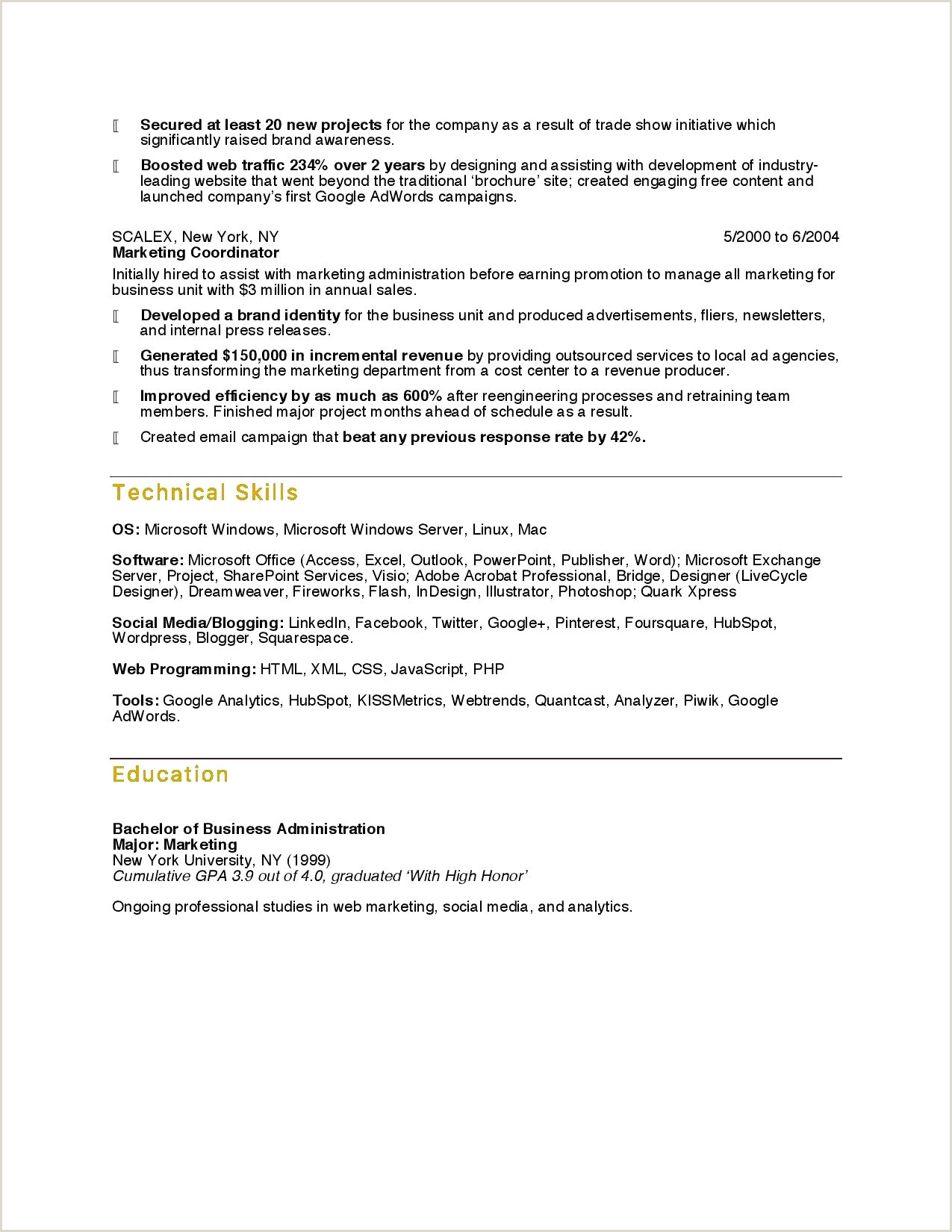 Business Resume Template Word Sample Resume Samples Doc New