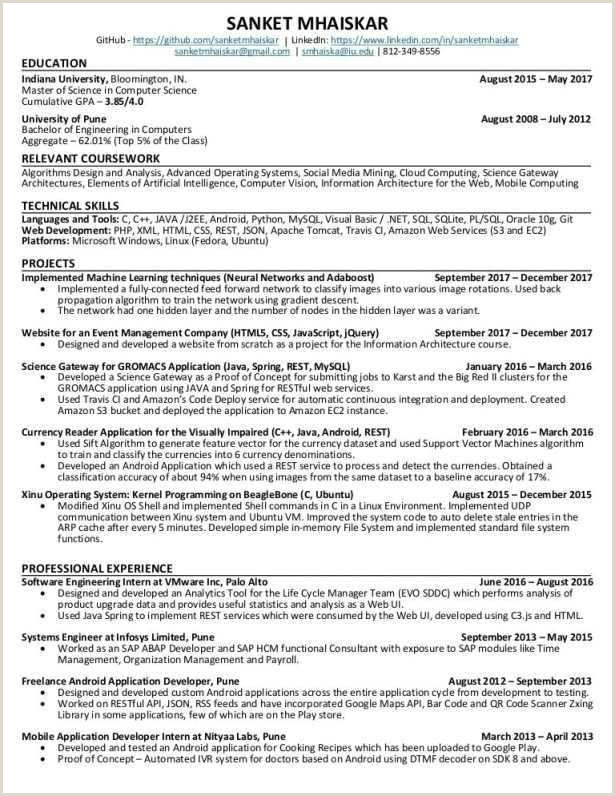 Programmer Resume Example Luxury Infosys Technologies Resume Sample – 50ger