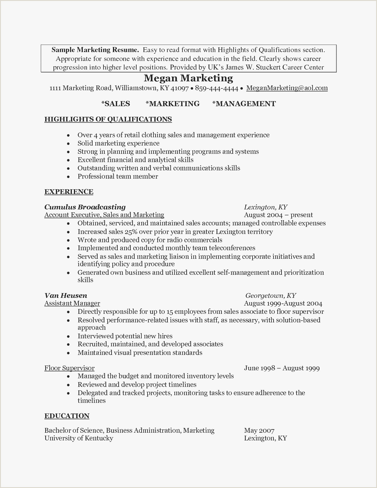 Resume Sample For A Sales And Marketing Executive New Hr