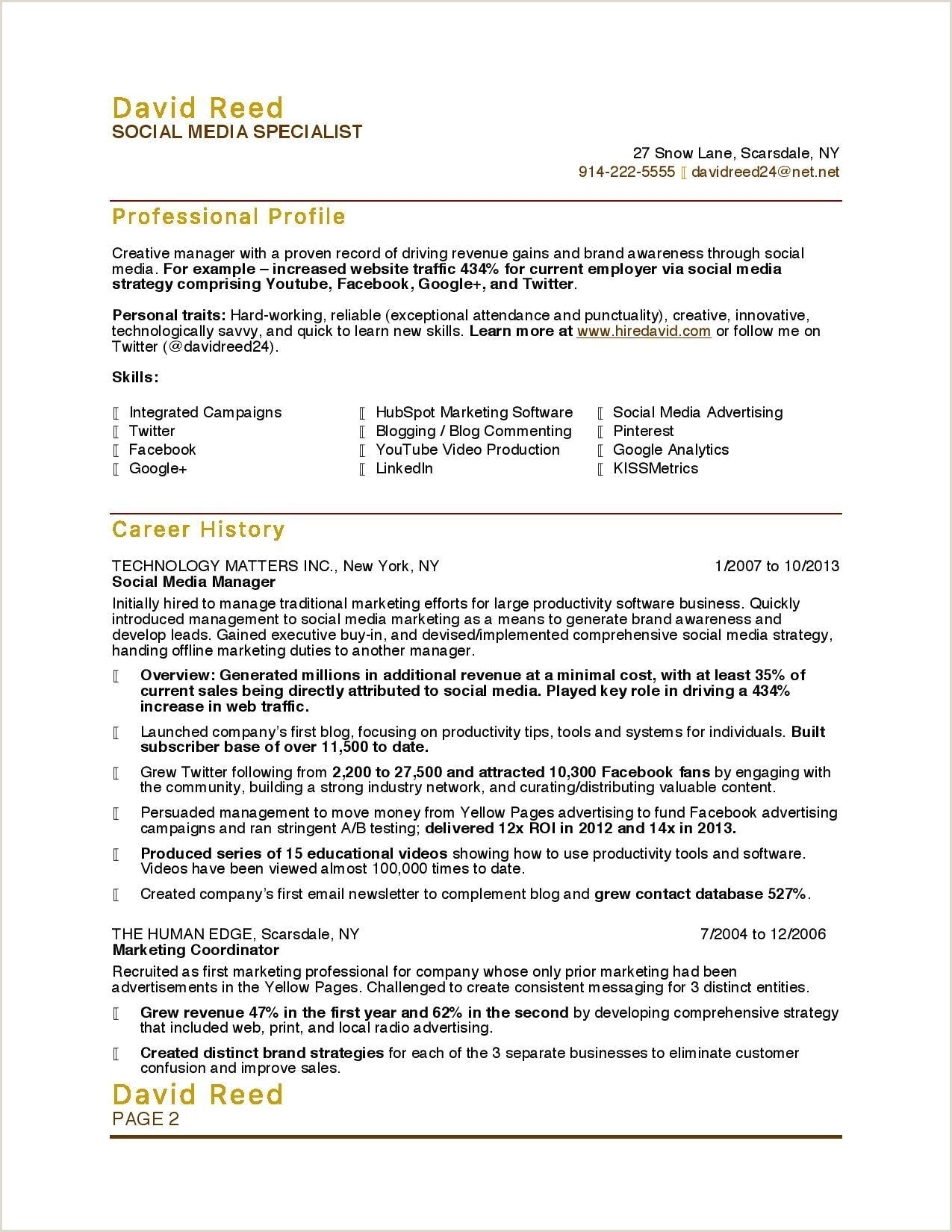 Promotional Resume Example 14 Media Resume Template Ideas