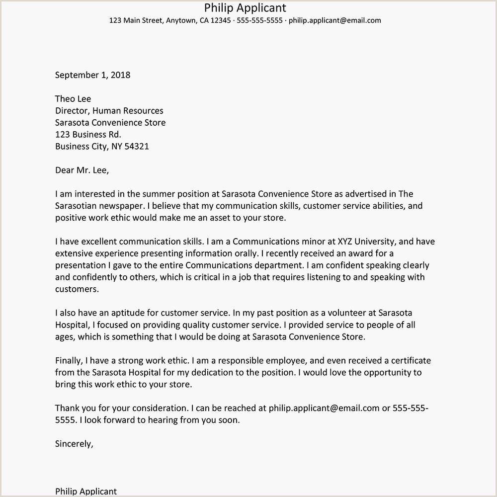 Property Management Cover Letter Summer Job Cover Letter Example