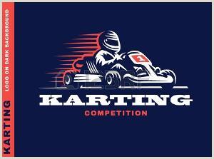 Racing Go Kart Graphics Ligne Et Plat Logo De Karting Et Le Symbole Silhouette