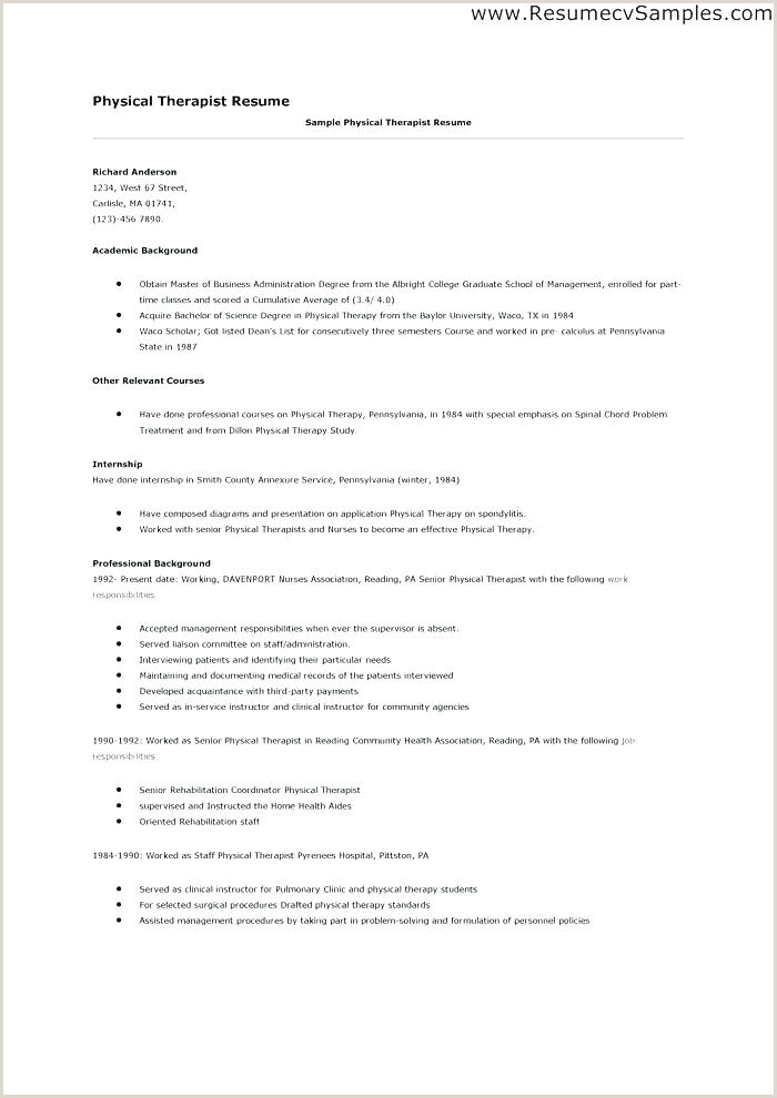 Radiation therapist Resume Physical therapy Resume Samples