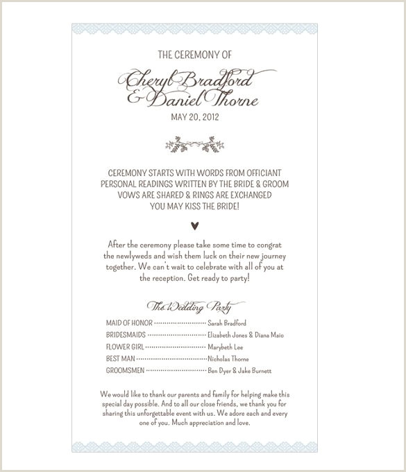 Reception order Of events Template 69 Wedding Program Template Free Word Pdf Psd Documents