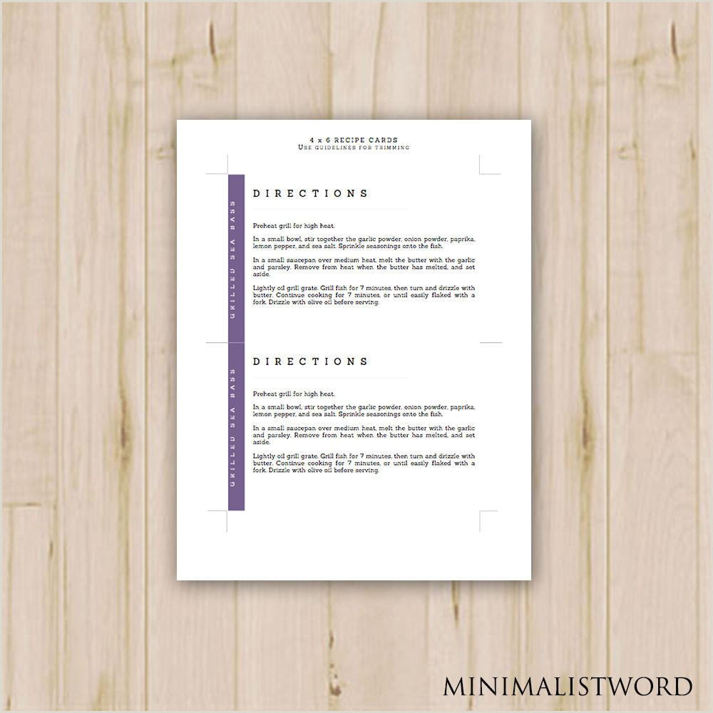 Recipe Card Templates for Word 4x6 Purple Recipe Cards Modern Printable Recipe Cards Card Recipe Recipe Card Template Ms Word Instant Download