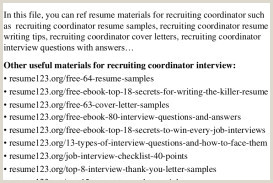 Recruiting Coordinator Resume Recruiting Coordinator Cover Letter Best Fresh Recruiting