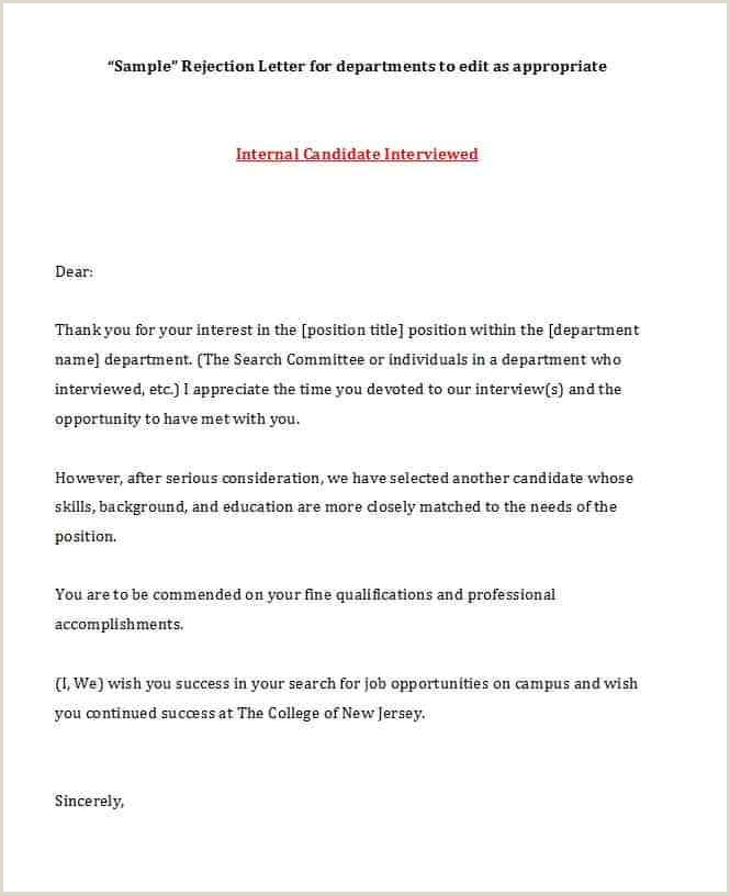 Rejection Letter for Internal Candidate 10 College Rejection Letter Sample