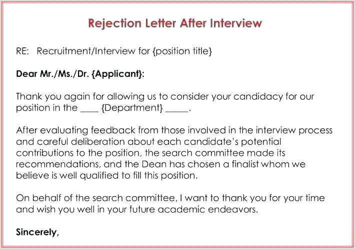Rejection Letter for Internal Candidate Application Rejection Letter Template – Vseo Tefo