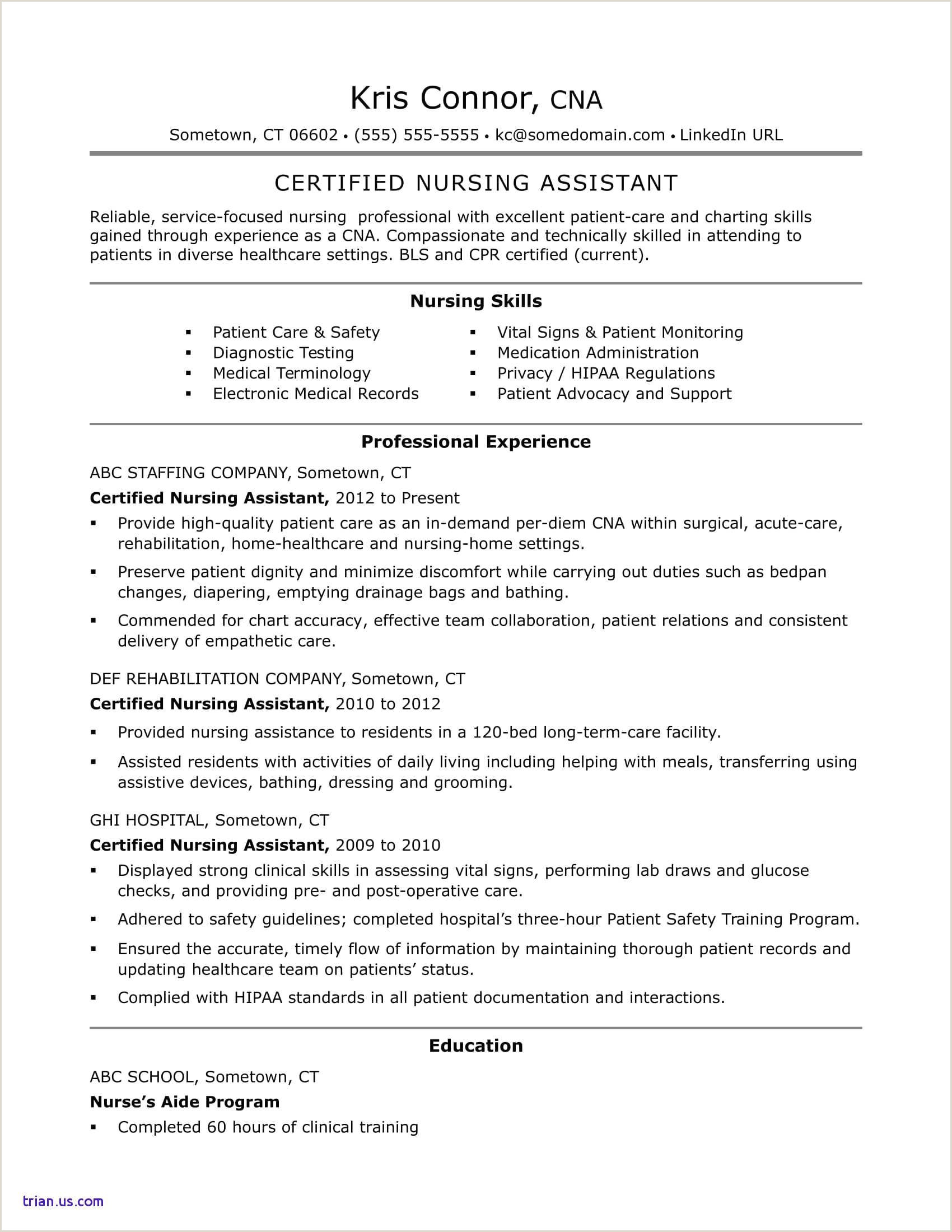 Patient Care assistant Resume New Nurse assistant Resume