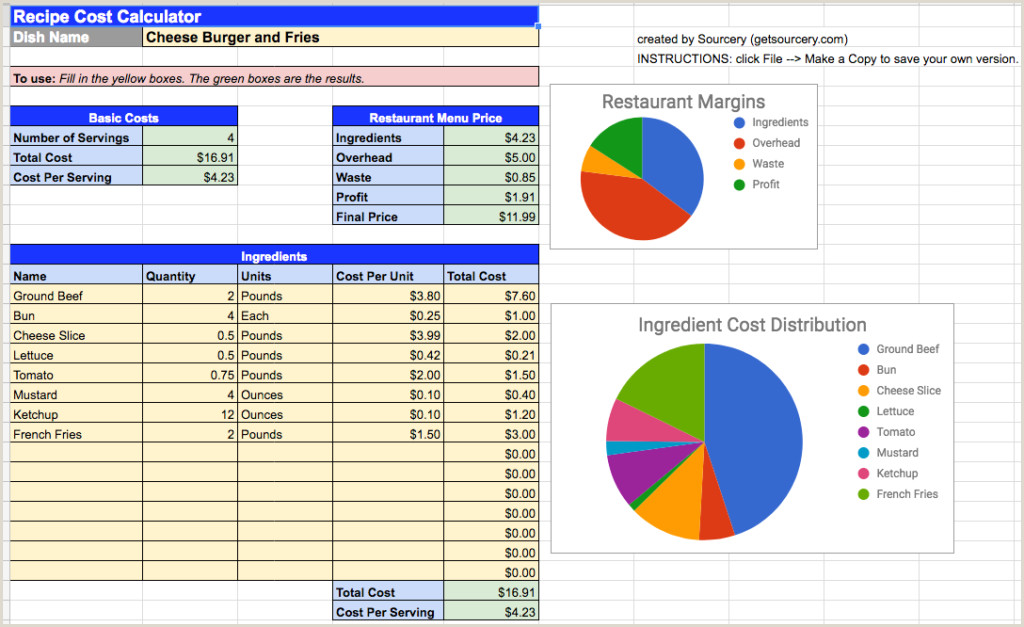 Restaurant Food Cost Spreadsheet sourcery Blog
