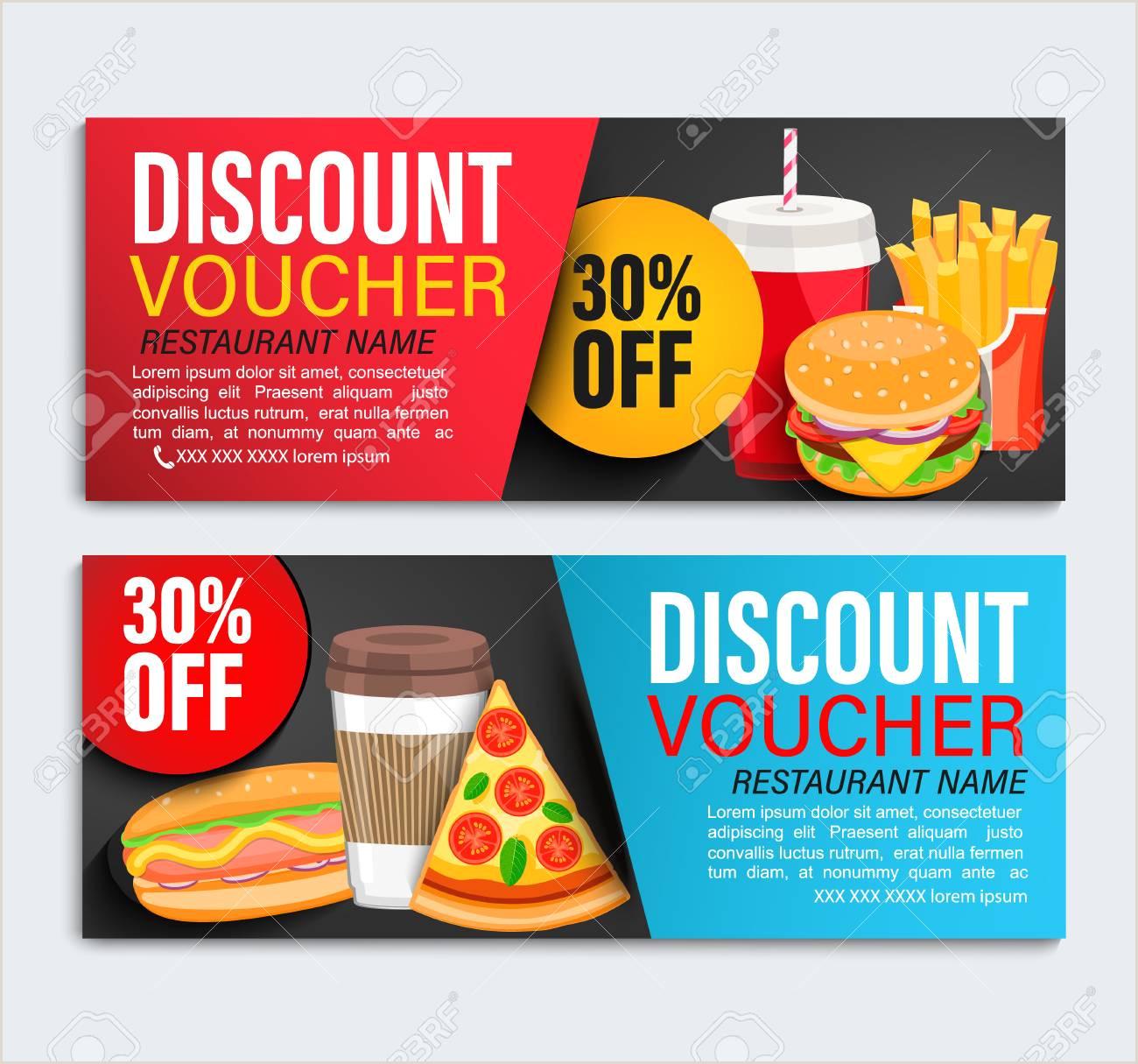 Set od Discount t vouchers for restaurans with 30 percent