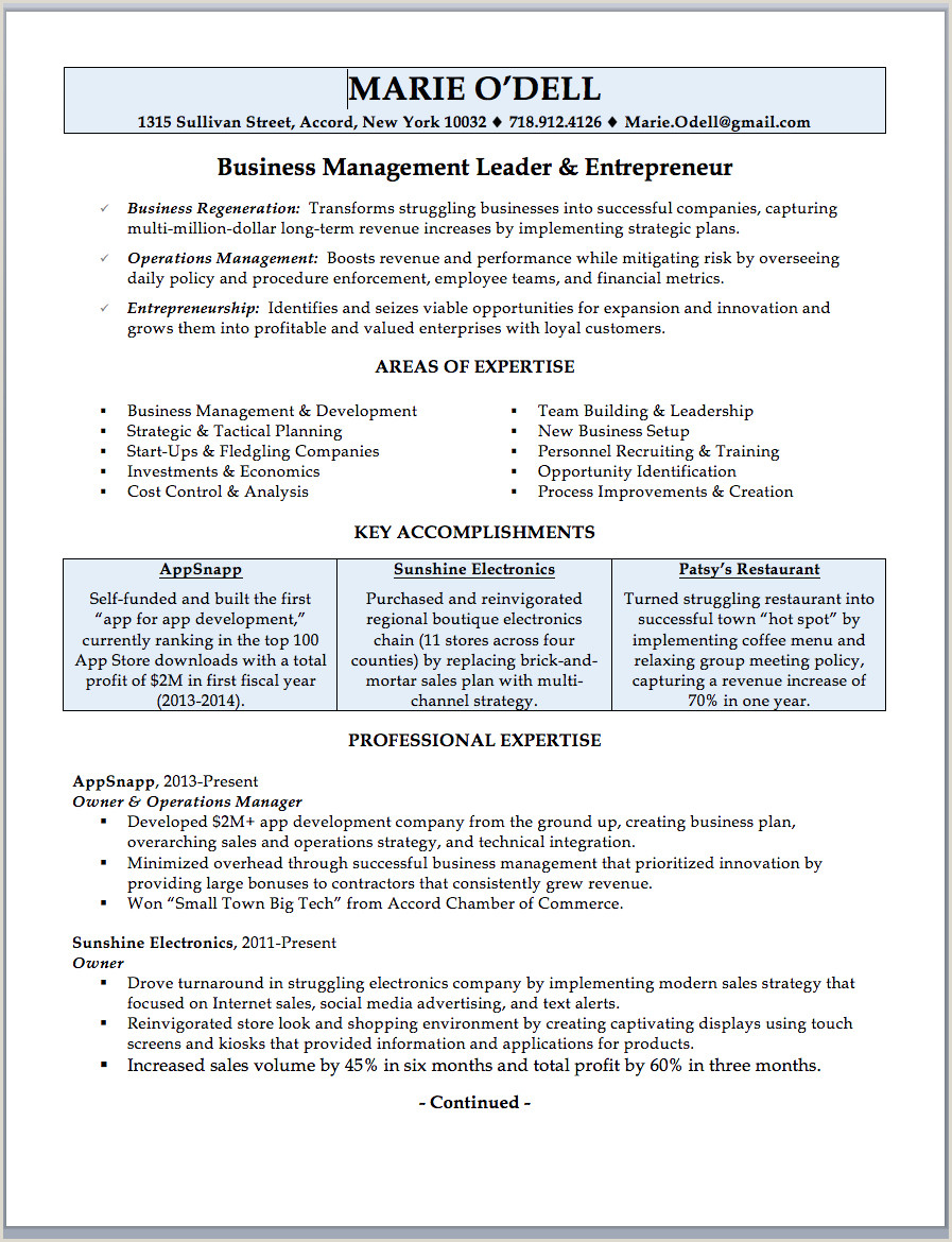 Inspirational Business Owner Resume Sample & Writing Guide